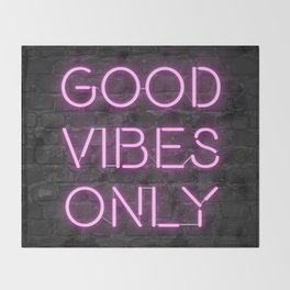 Neon Good Vibes - Pink Throw Blanket