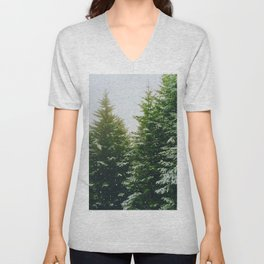 Winter Pine Tree Forest (Color) Unisex V-Neck