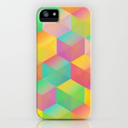 Rainbow Cubes (Vibrant Transparent Hexagon) iPhone Case