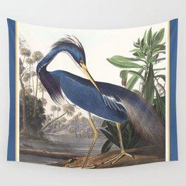 Louisiana Heron Bird Blue Yellow Painting Wall Tapestry