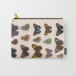 Vintage Hand Drawn Scientific Illustration Insects Butterfly Anatomy Colorful Wings Carry-All Pouch