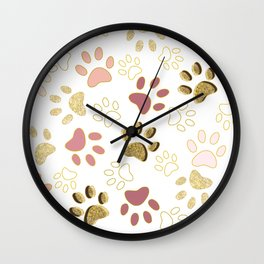 Rose Gold Colored Shining Paw Prints Wall Clock