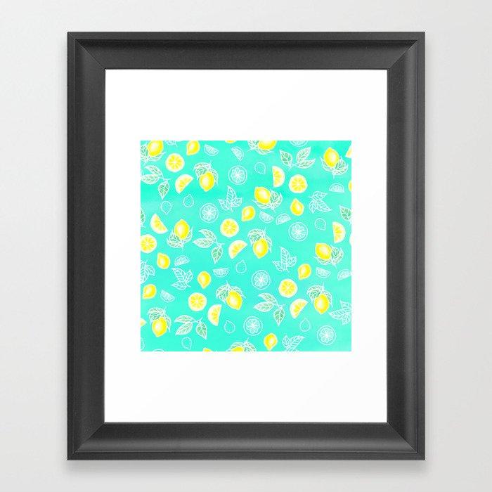 Modern summer bright yellow green lemon fruits watercolor illustration pattern on mint green Gerahmter Kunstdruck