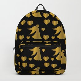 Golden Angel Silhouette Wings Religious Hearts  Backpack