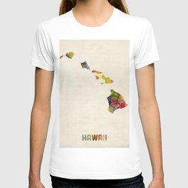 Hawaii Watercolor Map T-shirt
