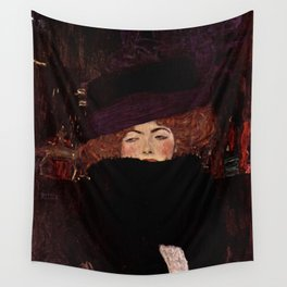 "Gustav Klimt ""Lady with Hat and Feather Boa"" Wall Tapestry"