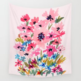 Peachy Wildflowers Wall Tapestry