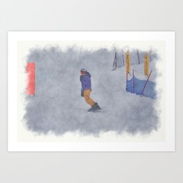 Sliding into Home - Winter Snowboarder Art Print