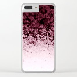 Burgundy CrYSTALS Ombre Gradient Clear iPhone Case