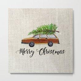 Merry Christmas, wagon Metal Print