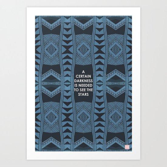 Blue Doodle Geometry  Art Print
