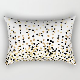 Floating Dots - Black and Gold on White Rectangular Pillow