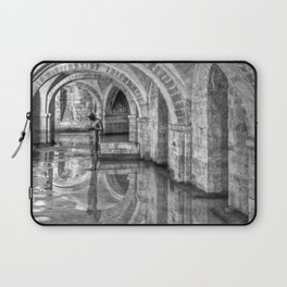 Winchester Cathedral Crypt - Black and White Laptop Sleeve