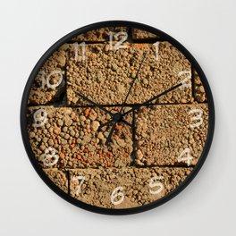 old wall of cinder blocks Wall Clock
