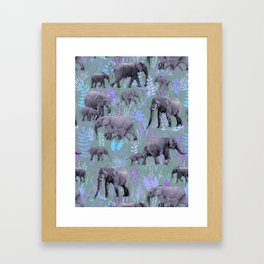 Sweet Elephants in Purple and Grey Framed Art Print