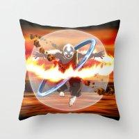 aang Throw Pillows featuring Avatar Aang by Waffle Guru