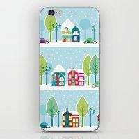 ski iPhone & iPod Skins featuring Ski house by Polkip