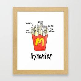 Frynemies, Frenemy, French Fries, Food Art, Funny Art, Illustration, Watercolor, Handlettering. Framed Art Print