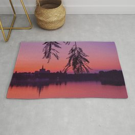 Sunset In The Summer By The Lake With City Skyline Rug