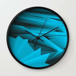 Psychedelic foil light blue landscap with stylised mountains, sea and Sun. Wall Clock
