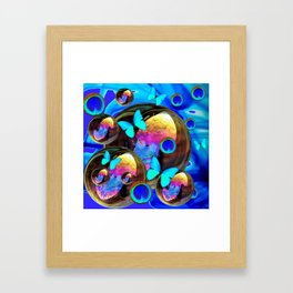 SURREAL NEON BLUE BUTTERFLIES IRIDESCENT SOAP BUBBLES PEACOCK EYES Framed Art Print