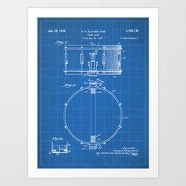 Snare Drum Patent - Drummer Art - Blueprint Art Print