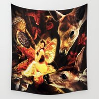 fairy tale Wall Tapestries featuring Autumn Fairy Tale by CLE.ArT.