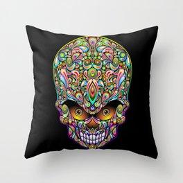 Psychedelic Skull Art Design Throw Pillow