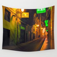 spain Wall Tapestries featuring Nocturnal Alley - Valencia - Spain  by CAPTAINSILVA