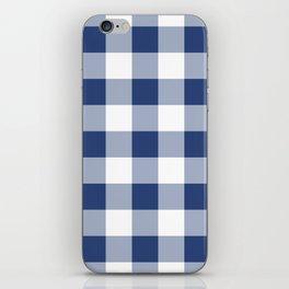 Navy Gingham Pattern iPhone Skin