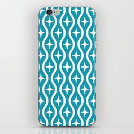 Mid century Modern Bulbous Star Pattern Turquoise iPhone Skin