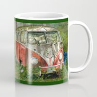 volkswagon Mugs featuring VW Bus in the Woods by Barb Laskey Studio
