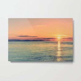 Pastel Sunset Calm Blue Water Metal Print