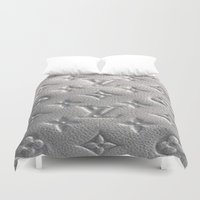 lv Duvet Covers featuring Silver LV  by Luxe Glam Decor