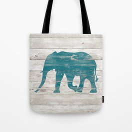 Rustic Teal Elephant on White Painted Wood A222a Tote Bag