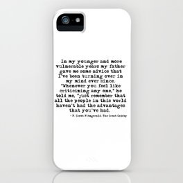 In my younger and more vulnerable years - F Scott Fitzgerald iPhone Case