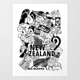 Kiwiana Doodle Art Print