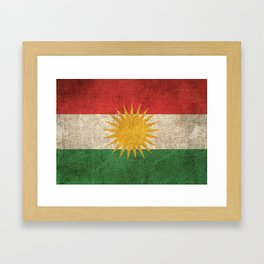 Old and Worn Distressed Vintage Flag of Kurdistan Framed Art Print