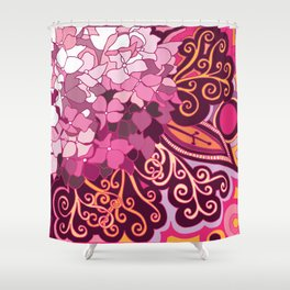 zentangle inspired Hortensia_rose pink doodle Shower Curtain