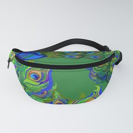 Peacock Neck Gator Blue and Green Peacocks Peacock Feathers Fanny Pack