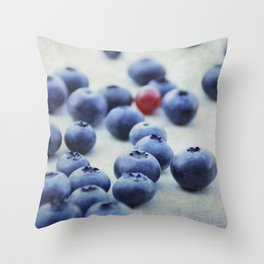 Blue berries with one red currant Throw Pillow