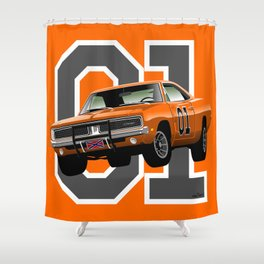 General Lee Dodge Charger Shower Curtain