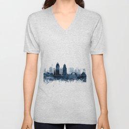 Cincinnati Skyline Blue Watercolor by Zouzounio Art Unisex V-Neck