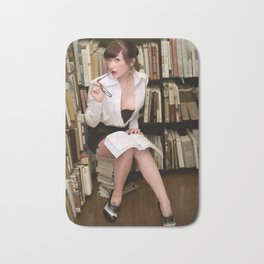 """I Like Books, Too"" - The Playful Pinup - Sexy Librarian Pin-up Girl by Maxwell H. Johnson Bath Mat"