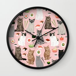 Cat breeds pure bred cats sushi kawaii pet gifts cat person must haves Wall Clock