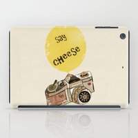 cheese iPad Cases featuring say cheese by bri.buckley