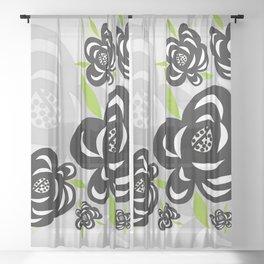 Black Rose Sheer Curtain