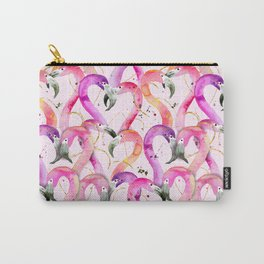 Pink Flamingo Hearts Carry-All Pouch