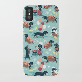 Hot dogs and lemonade // aqua background navy dachshunds iPhone Case
