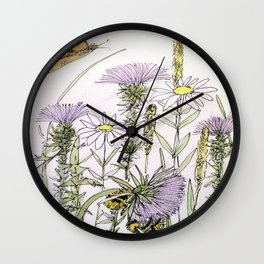 Bees Butterfly Thistle Watercolor Illustration Nature Art Wall Clock